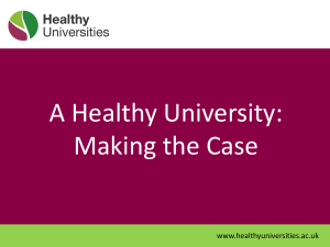 Making the Case - Healthy Universities