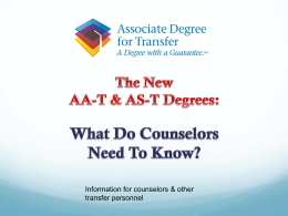 Train the Trainer: Informing Counselors about AA-T and