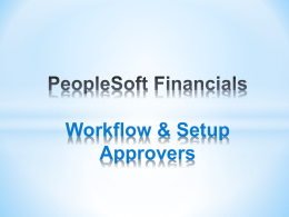 Workflow & Setup Approvers