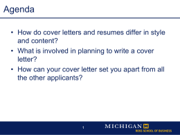 CoverLettersJm - University of Michigan`s Ross School of Business