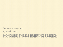 Honours Thesis Briefing Session - Faculty of Arts and Social Sciences