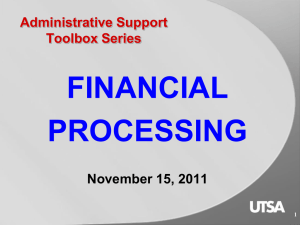 Administrative Support Toolbox Series: Financial Processing (SD239)