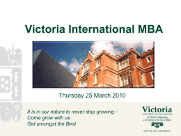 Get amongst the Best: Your Victoria International MBA