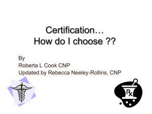 """Certification: How Do I Choose?"" presentation by Roberta L"