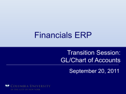 FIN ERP Transition Session - GL/COA