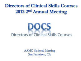 View Document - Directors of Clinical Skills Courses DOCS