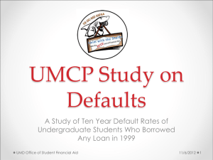 UMCP Study on Defaults - DE-DC-MD