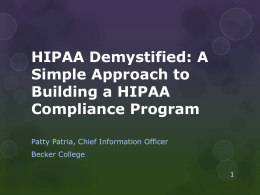 HIPAA Demystified: A Simple Approach to