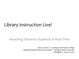 Library Instruction Live! - American Library Association