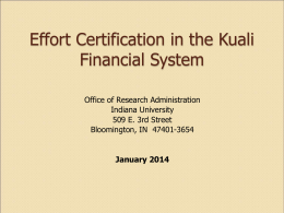 KFS A21 Effort Presentation - Office of Research Administration
