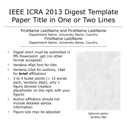 IEEE ICRA 2013 Digest Template Paper Title in One or Two Lines