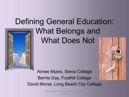 Defining General Education: What Belongs and What