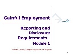 Module 1 - Reporting and Disclosure Requirements