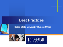 Best Practices - Vice President for Finance and Administration