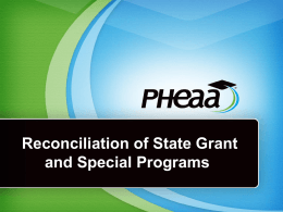 Reconciliation of State Grant and Special Programs