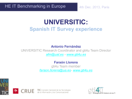 UNIVERSITIC IT benchmarking in Spain, by Antonio