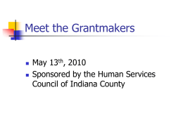Meet the Grantmakers - Indiana County Department of Human