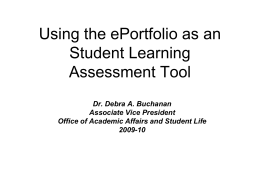 Using the ePortfolio as an Assessment Tool