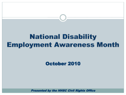 National Disability Employment Awareness Month October 2010