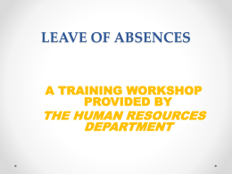 Leave of Absence Workshop - New Jersey City University