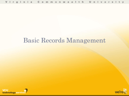 Basic Records Management - VCU Technology Services