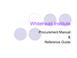 Procurement Manual - Whitehead Institute for Biomedical Research
