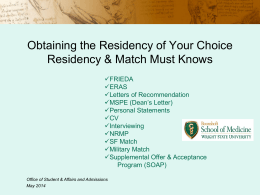 Residency and Match