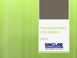 Post-Secondary Presentation 2014