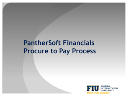 Procure to Pay - Office of Finance & Administration