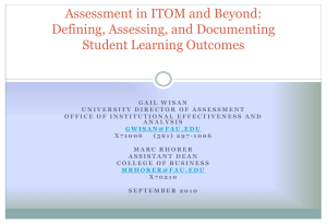 Assessment in ITOM and Beyond - Institutional Effectiveness