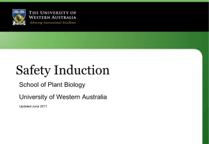 Safety Induction - The University of Western Australia