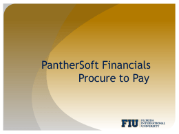 PantherSoft Financials Procure to Pay