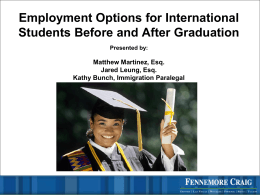 Employment Options for International Students Before and After