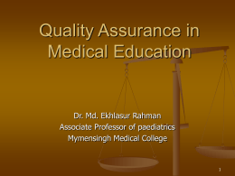 Quality Assurance in Medical Edu