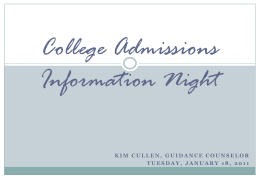College Admissions Information Night Presentation