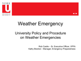 Weather Emergencies - Vice-President Finance and Administration
