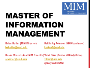 an overview of the UMD Master of Information