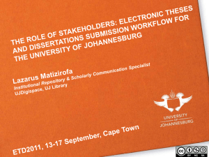 WHO ARE THE ETDs STAKEHOLDERS AT UJ?