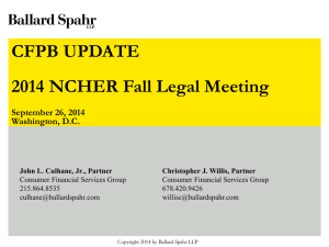 What`s new with the CFPB - National Council of Higher Education