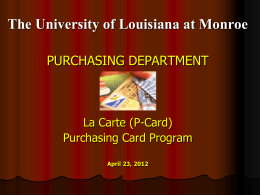 Procurement Card (Lacarte) - University of Louisiana at Monroe