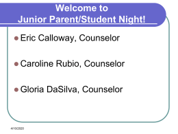 Fall 2014 Junior Parent Night Powerpoint Presentation