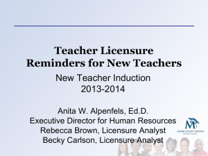 Teacher Licensure Reminders for New Teachers