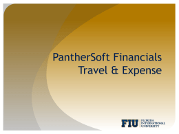Travel and Expense - Office of Finance & Administration