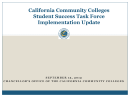 Student Success Task Force Implementation Updates