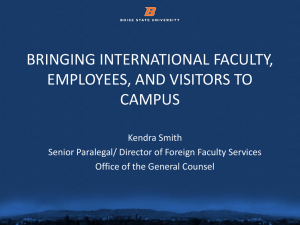 bringing international faculty, employees and visitors to campus
