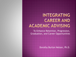 Integrating Career and Academic Advising