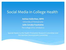 Social Media in College Health - American College Health Association