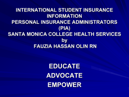 PIA insurance ppt - Santa Monica College