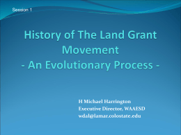 Session 1 - History of Land Grant