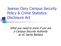 UCSB Clery Act Campus Security Authority Training (Powerpoint